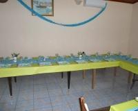 Décoration de table de baptême bleue et verte