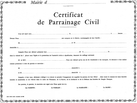 modele certificat parrainage civil document online. Black Bedroom Furniture Sets. Home Design Ideas