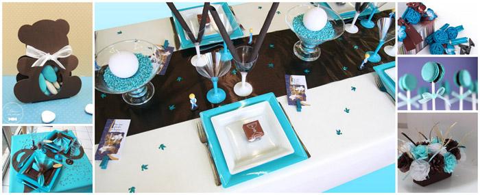 Th me turquoise et chocolat bapt me b b bapt me b b - Decoration bapteme garcon ...